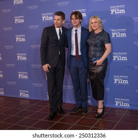 Actors Ethan Hawke, Ellar Coltrane, and Patricia Arquette (Boyhood) attend the American Riviera Award at the 30th Santa Barbara International Film Festival