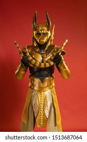 Actors man in costume of egyptian deity jackal anubis