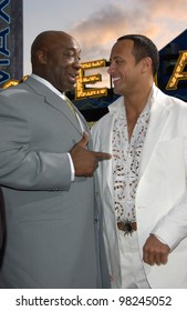 Actors MICHAEL CLARKE DUNCAN (left) & DWAYNE JOHNSON, aka THE ROCK, at the world premiere, in Los Angeles, of their new movie The Scorpion King. 17APR2002.  Paul Smith / Featureflash