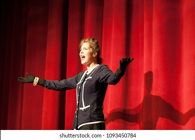 actress acting on stage