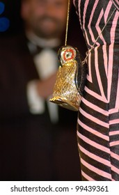 "Actress BJORK, winner of the Best Actress award at the 53rd Cannes Film Festival for her movie Dancer in the Dark. Picture shows Icelandic star Bjork's ""penguin"" purse."