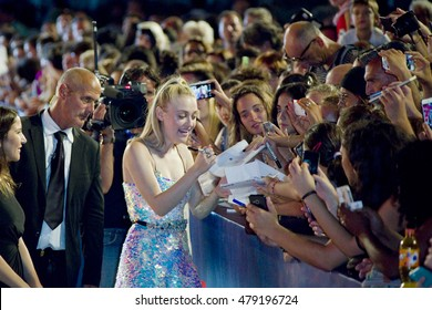 Actress Dakota Fanning attends the premiere of 'Brimstone' during the 73rd Venice Film Festival at Sala Grande on September 3, 2016 in Venice, Italy.