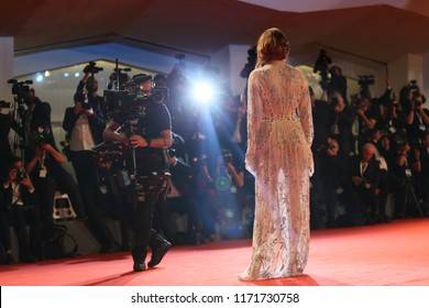 Actress Emma Stone walks the red carpet ahead of the 'The Favourite' screening during the 75th Venice Film Festival at Sala Grande on August 30, 2018 in Venice, Italy.