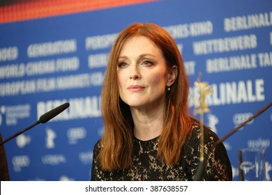 Actress Julianne Moore attends the 'Maggie's Plan' press conference during the 66th Berlinale Film Festival Berlin at Grand Hyatt Hotel on February 15, 2016 in Berlin, Germany.
