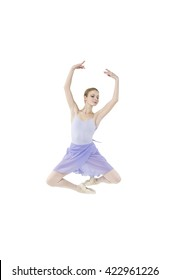 Actress Russian Ballet performs complex dance elements on a white background