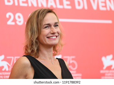 Actress Sandrine Bonnaire attends 'L'Enkas' photocall during the 75th Venice Film Festival at Sala Casino on August 30, 2018 in Venice, Italy.