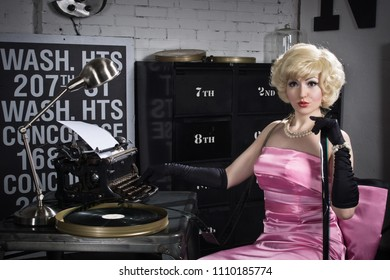 Actress in the style of Hollywood retro films with film in their hands