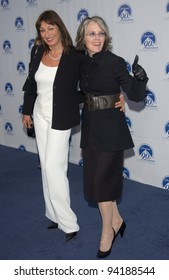 Actresses ANJELICA HUSTON (left) & DIANE KEATON at the Paramount Pictures 90th Anniversary Gala at Paramount Studios, Hollywood. 14JUL2002.   Paul Smith / Featureflash