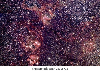 Actual astrophotograph. Deep sky sky view Tarantula Nebula. Only from Southern Hemisphere skies.remote telescope in Australia. Hydrogen Alpha filter enhances nebulosity. 3.5 hrs total exposure HaRGB