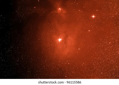 Actual astrophotograph. Stars with nebulosity. Rho Ophicus region. Synthesized color. Diffraction spikes added for emphasis. Great science background.