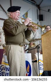 Actual trumpeter from World War II who played Taps during liberation of Nazi Auschwitz concentration camp in Germany at Mid-Atlantic Air Museum World War II Weekend  in Reading, PA held June 18, 2008