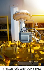 Actuator control valve,Pneumatic operate valve by PLC control at offshore oil and gas central processing platform, manual valve