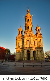 Acuascalientes / Mexico - February 02, 2019: The Temple of San Antonio is a monument and religious masterpiece, located in the historic center of the City of Aguascalientes