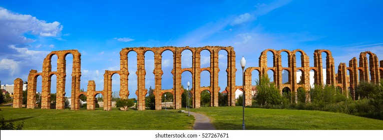 Acueducto Los Milagros in Merida Badajoz aqueduct at Extremadura of Spain image shot from the exterior public floor