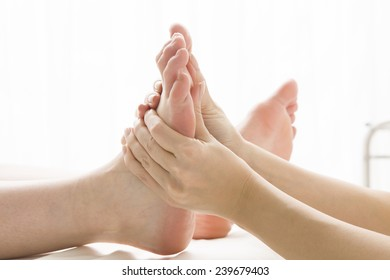 Acupressure massage in relaxation salon