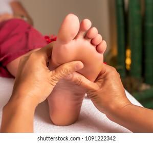 Acupressure, reflexology. Natural medicine, reflexology, acupressure foot massager oppresses energy flow points