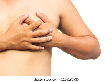 Acute pain in chest on white background.