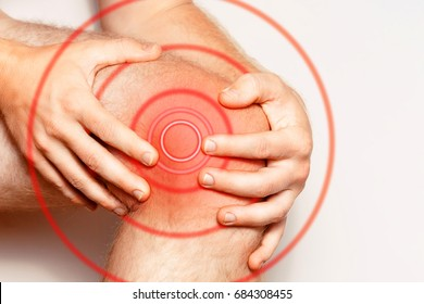 Acute pain in a knee joint, close-up. Color image, isolated on a white background. Pain area of red color