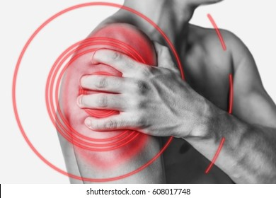 Acute pain in a male shoulder, side view. Monochrome image, isolated on a white background. Pain area of red color.