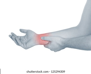 Acute pain in a man wrist. Male holding hand to spot of wrist pain. Concept photo with Color Enhanced blue skin with read spot indicating location of the pain. Isolation on a white background.
