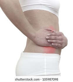 Acute pain in a woman abdomen. Female holding hand to ection of kidney.