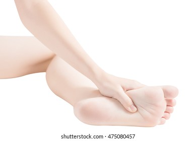 Acute pain in a woman feet isolated on white background. Clipping path on white background