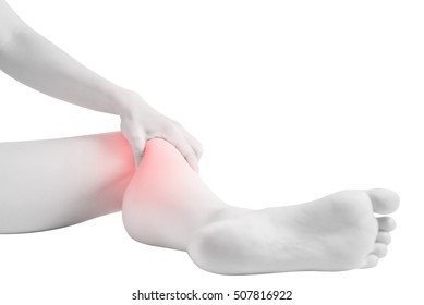 Acute pain in a woman knee isolated on white background. Clipping path on white background
