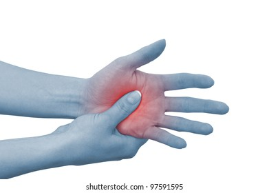 Acute pain in a woman palm. Concept photo with blue skin with read spot indicating pain. Isolation on a white background