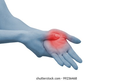 Acute pain in a woman palm. Female holding hand to spot of palm-ache. Concept photo with Color Enhanced blue skin with read spot indicating location of the pain. Isolation on a white background.