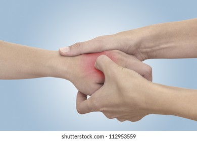 Acute pain in a woman palm. Isolation on a white background.