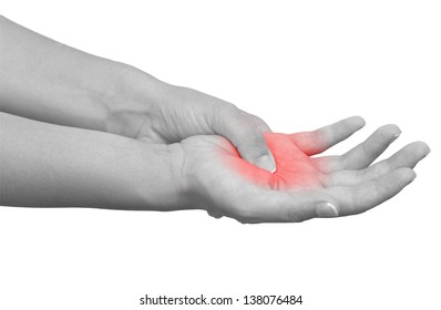 Acute pain in a woman palm. Isolation on a white background. Color Manipulation image to emphasize the pain.