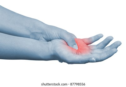 Acute pain in a woman palm. Isolation on a white background.Color Manipulation image to emphasize the pain.