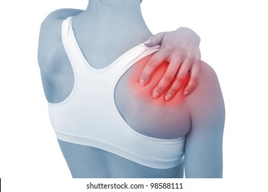 Acute pain in a woman shoulder. Female holding hand to spot of shoulder-aches. Concept photo with Color Enhanced blue skin with read spot indicating location of the pain.