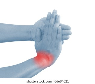 Acute pain in a woman wrist. Isolation on a white background.