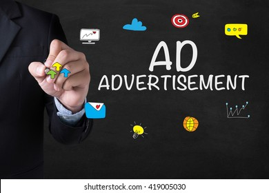 AD ADVERTISEMENT Businessman drawing Landing Page on blurred abstract background