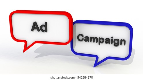 Ad Campaign, message on speech bubble, 3D rendering