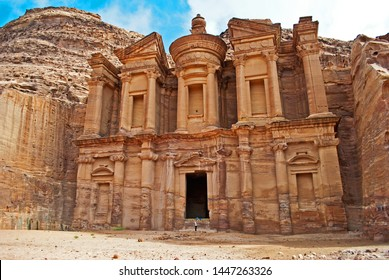Ad Deir in the ancient city of Petra, Jordan. Ad Deir is known as The Monastery. Petra has led to its designation as a UNESCO World Heritage Site.