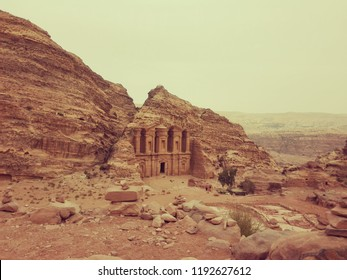 Ad Deir, also known as El Deir, is a monumental building carved out of rock in the ancient Jordanian city of Petra.