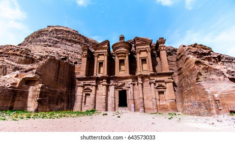 """Ad Deir"" The Monastery, a monumental building carved out of rock in the ancient Jordanian city of Petra."