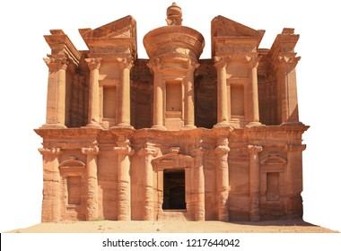 "Ad Deir (""The Monastery""), also known as El Deir, is a monumental building carved out of rock in the ancien city of Petra (Jordan). Building isolated on white background."