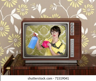 ad tv commercial retro nerd housewife cleaning chores wood television [Photo Illustration]