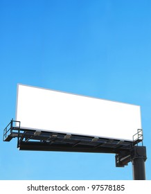 An ad white board on blue sky
