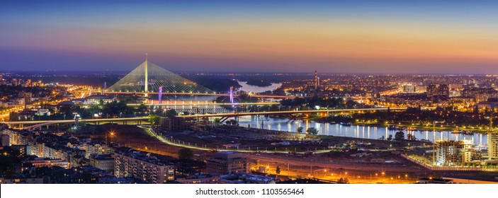 Ada,  Gazela bridges, Belgrade Waterfront, Sava river, Old and New Belgrade, Belgrade Waterfront by night