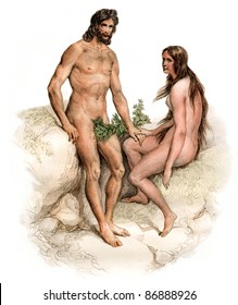 "Adam & Eve - vintage engraved illustration - ""Oeuvres complete de Buffon"" by Buffon ed.Gravier Frères in 1853 France"