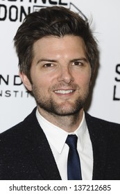 """Adam Scott arriving for screening of """"A.C.O.D."""" as part of the Sundance London Festival 2013 at the O2, Greenwich, London. 25/04/2013"""