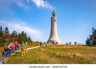 Adams, MA - 10/10/20: Visitors trek to the summit of Mount Greylock, the highest natural point in Massachusetts