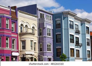 Adams Morgan neighborhood in US capital. Sunny spring day on the street of a vibrant city neighborhood.