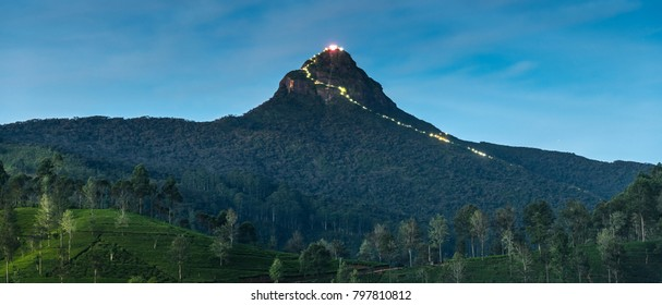 Adam's Peak (Sri Pada) Mountain at night in Sri lanka