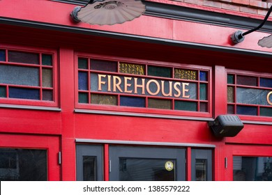 Adams / USA - April 2019: The entrance of The Firehouse Cafe in Adams, Massachusetts.