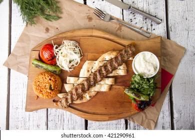 adana kebab, minced meat kebab, turkish food top view